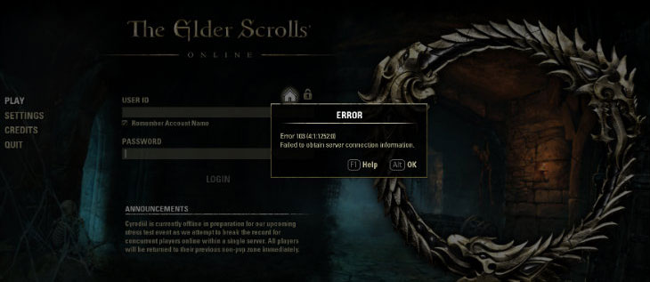 Eso Crash To Login Screen