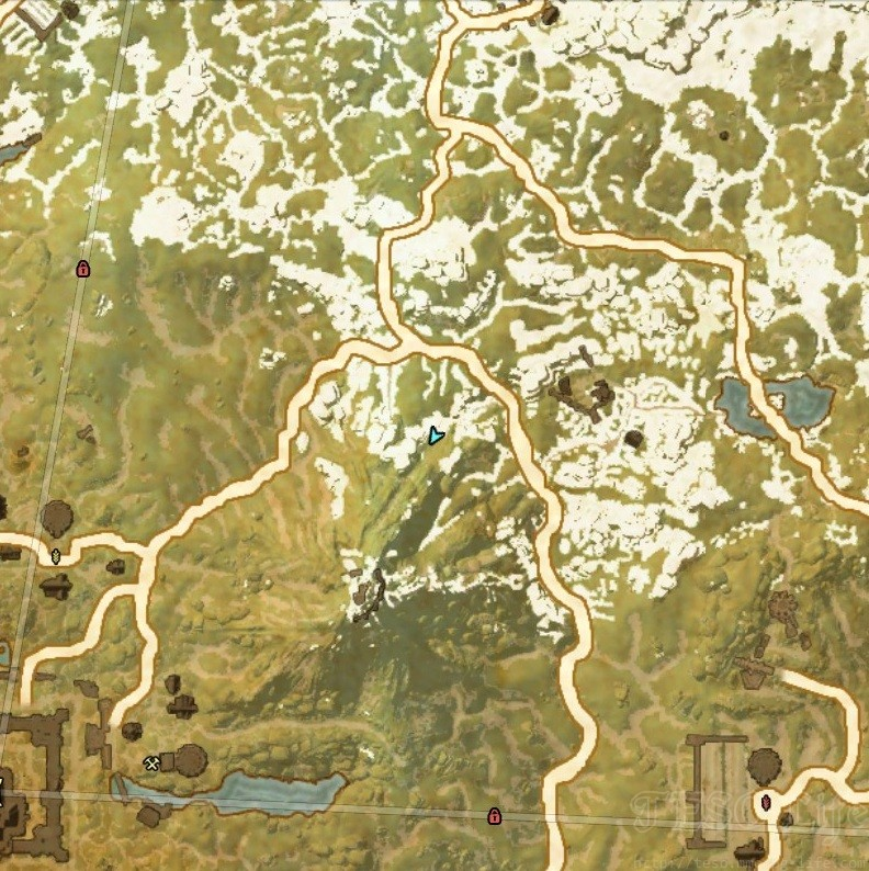 White Fall Mountain Top path map location of a start