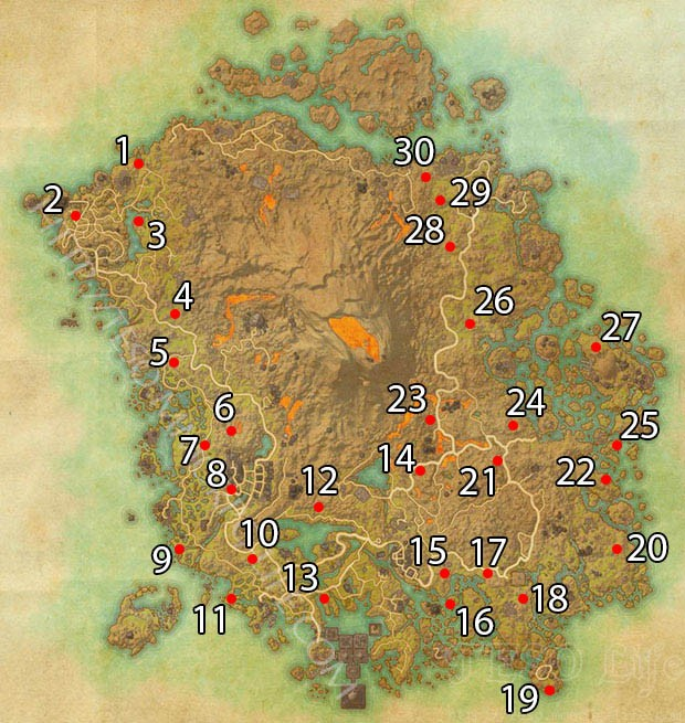 Ancestral Tombs Locations ESO Morrowind Vvardenfell Map