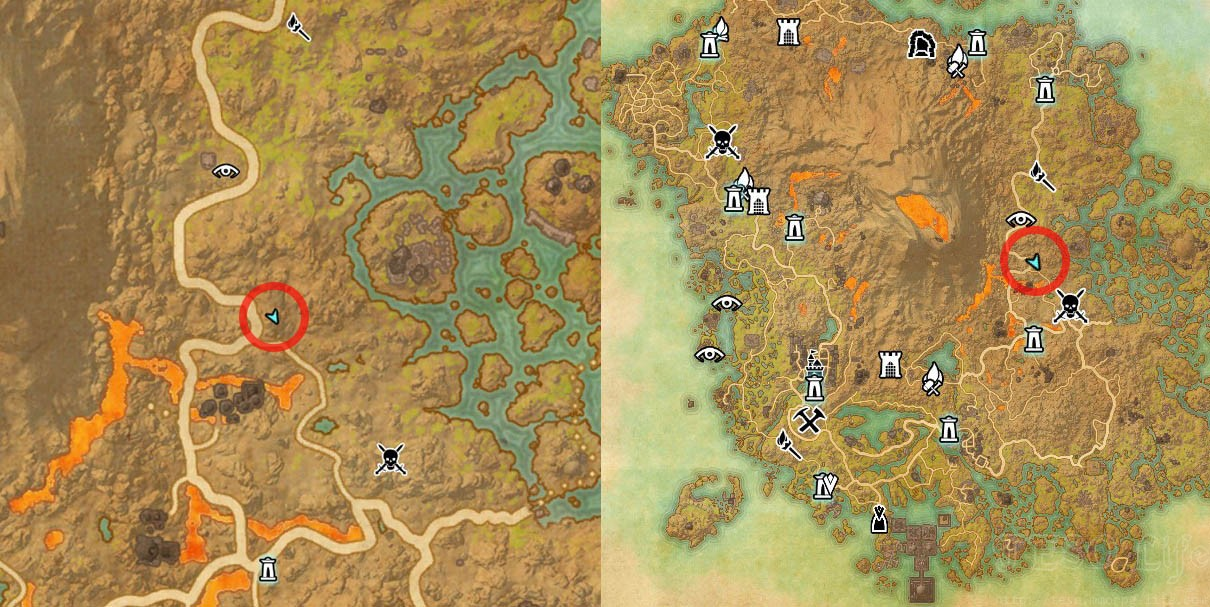 CE Treasure Map I Vvardenfell Dig Spot Map Location ESO Morrowind
