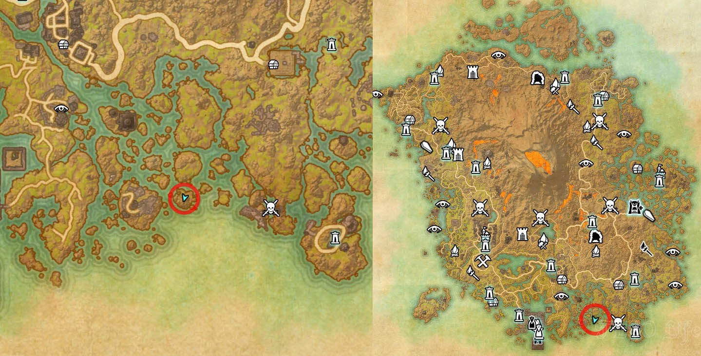 Map Location of Treasure Map 1 Vvardenfell ESO Morrowind