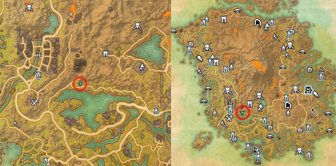 Map Location of Vvardenfell Treasure Map 4 ESO Morrowind