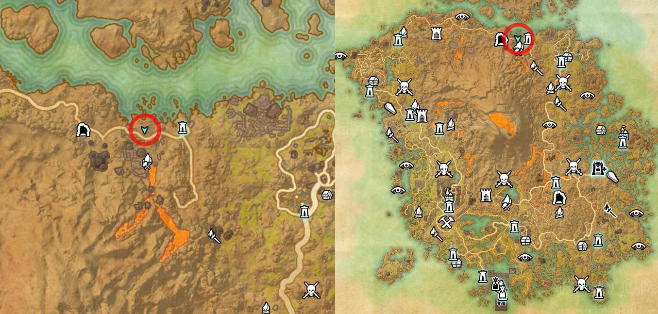 Map Location of Vvardenfell Treasure Map 5 ESO Morrowind