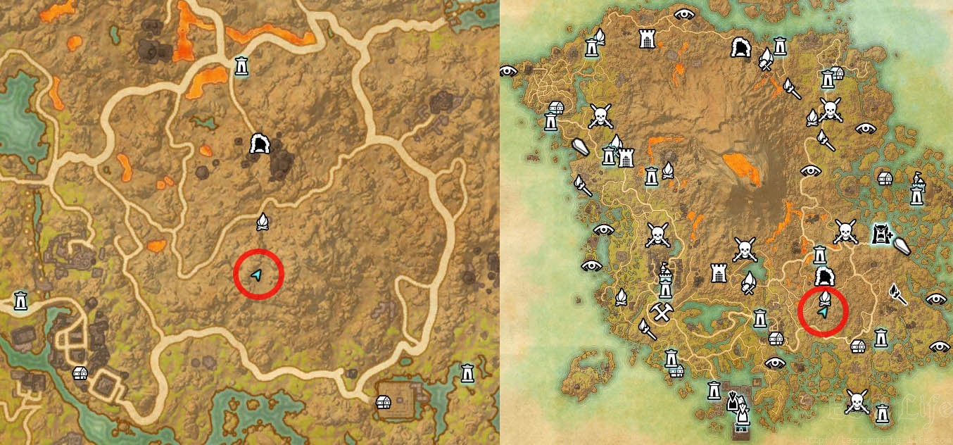 Map Location of Vvardenfell Treasure Map 6 Spot ESO Morrowind