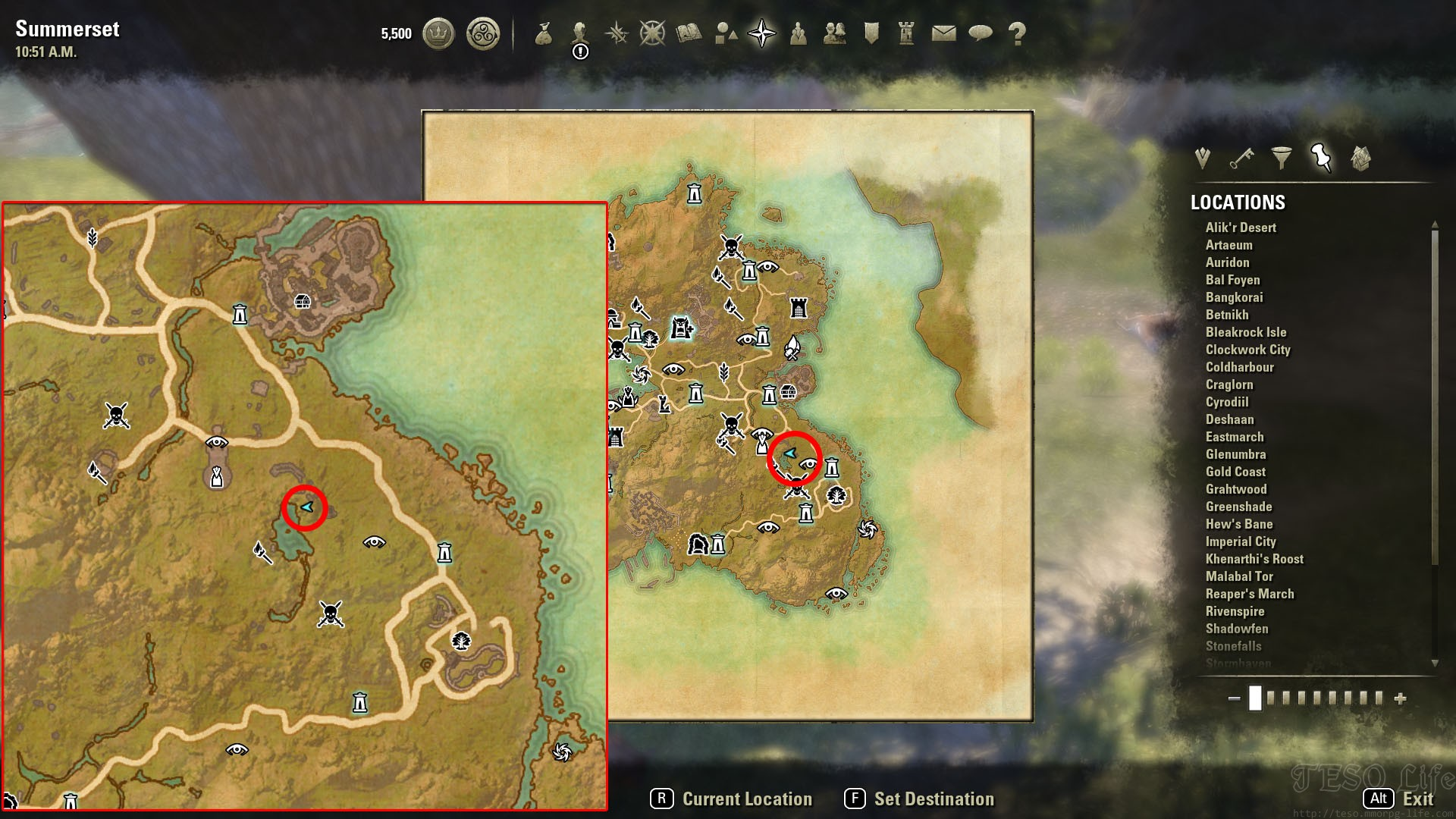 summerset isles treasure map locations