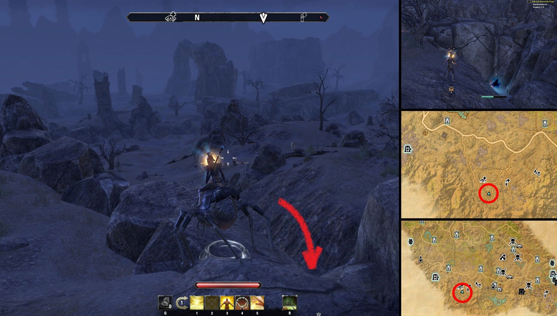 ESO Breach Beyond the Crags Quest Time Breach Locations