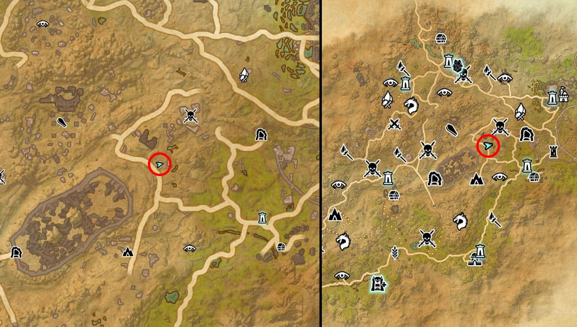 ESO Northern Elsweyr Treasure Map I Map Location
