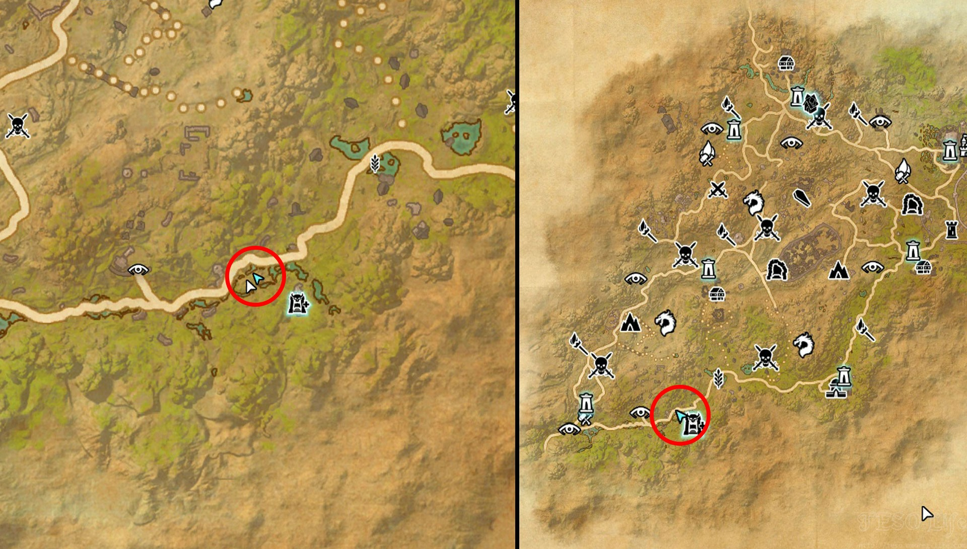 Northern Elsweyr CE Treasure Map 1 Exact Map Location TESO