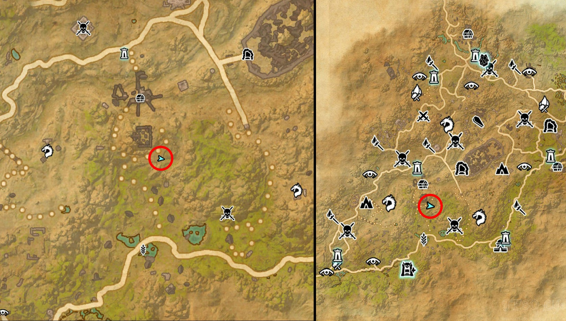 TESO Northern Elsweyr Treasure Map III Exact Map Location